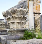 volubilis in morocco africa the old roman deteriorated monument and site - stock photo