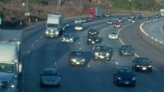 Trucks in Rush Hour Traffic on 5 Freeway Stock Footage