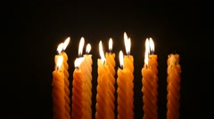 Clandles - Flame - Fire - Candles In The Dark - Light - Religious - Prayer 62 - stock footage