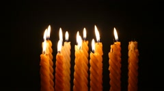Clandles - Flame - Fire - Candles In The Dark - Light - Religious - Prayer 63 Stock Footage