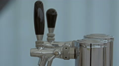 Two silver faucet on the sink in the fod Stock Footage
