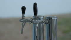 The silver faucets on the fod or small port Stock Footage