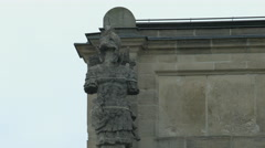 One of the statues on Bavarian State Chancellery's roof, Munich Stock Footage