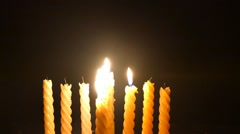 Clandles - Flame - Fire - Candles In The Dark - Light - Religious - Prayer 78 - stock footage