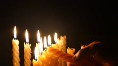 Clandles - Flame - Fire - Candles In The Dark - Light - Religious - Prayer 82 - stock footage