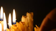 Clandles - Flame - Fire - Candles In The Dark - Light - Religious - Prayer 84 - stock footage