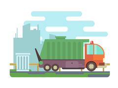 Garbage truck - stock illustration