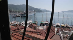 View over Harbour and Rooftops, Marmaris, Anatolia, Turkey Stock Footage