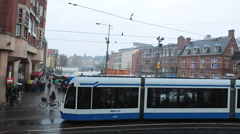 Amsterdam, The Netherlands. Holland. Tram, street, people, transportation Stock Footage