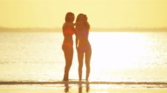 African American Asian Chinese girls on beach in swimwear Stock Footage