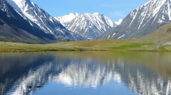 Mountain landscape with lake in Altay, Russia Stock Footage