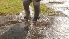 Young child jumping happily in puddle Stock Footage