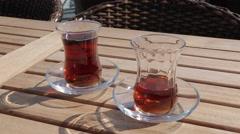 Turkish Tea, Marmaris, Anatolia, Turkey Stock Footage