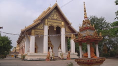 Statues and monastery building in Vientiane, Laos Stock Footage