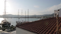 View over Marina from Rooftop Tereace, Marmaris, Anatolia, Turkey Stock Footage