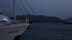 View of Harbour at Dusk, Marmaris, Anatolia, Turkey - stock footage