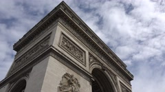 Tilt down the side of the Arc de Triomphe (in 4K) in Paris, France. Stock Footage