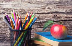 Back to school concept on  grunge retro  background Stock Photos