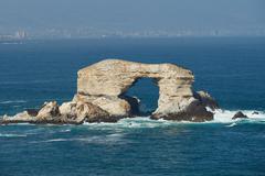 La Portada Natural arch in the Pacific Ocean near Antofagasta in northern Chile. Stock Photos