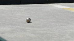 Stock Video Footage of French Petanque - Bowling - Old Bowling- Petanque Ball - Metal Ball 15