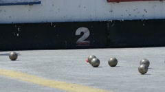 French Petanque - Bowling - Old Bowling- Petanque Ball - Metal Ball 24 Stock Footage