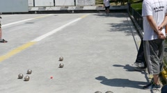 Stock Video Footage of French Petanque - Bowling - Old Bowling- Petanque Ball - Metal Ball 48