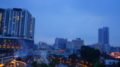 "Dusk aerial time-lapse view of ""Eye On Malacca"" ferris wheel and ""Malacca River Stock Footage"