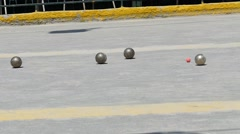 French Petanque - Bowling - Old Bowling- Petanque Ball - Metal Ball 30 - stock footage