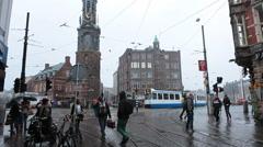 Amsterdam, The Netherlands. Holland. Tram, transportation. Europe Stock Footage
