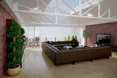 3D interior rendering of a living room - stock illustration