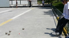 Stock Video Footage of French Petanque - Bowling - Old Bowling- Petanque Ball - Metal Ball 46