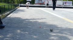 Stock Video Footage of French Petanque - Bowling - Old Bowling- Petanque Ball - Metal Ball 51
