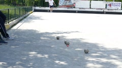 French Petanque - Bowling - Old Bowling- Petanque Ball - Metal Ball 56 - stock footage