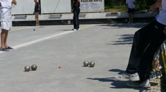 Stock Video Footage of French Petanque - Bowling - Old Bowling- Petanque Ball - Metal Ball 59