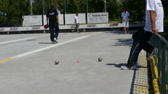 Stock Video Footage of French Petanque - Bowling - Old Bowling- Petanque Ball - Metal Ball 58