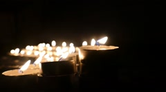 Clandles - Flame - Fire - Candles In The Dark - Light - Religious - Prayer 9. - stock footage