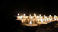 Clandles - Flame - Fire - Candles In The Dark - Light - Religious - Prayer 8. - stock footage