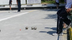 French Petanque - Bowling - Old Bowling- Petanque Ball - Metal Ball 61 - stock footage