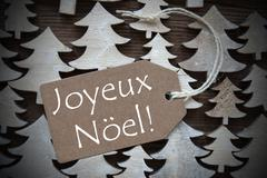 Brown Label With Joyeux Noel Means Merry Christmas Stock Photos