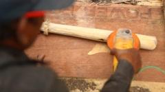 Carpenter at work rural house Stock Footage