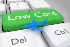3D render illustration of low cost flights order keyboard - stock illustration