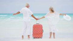 Barefoot mature Caucasian couple outdoors on a beach with a suitcase - stock footage