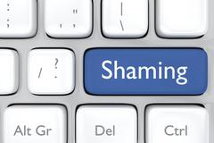 3D render illustration of social media shaming button on a keyboard Stock Illustration