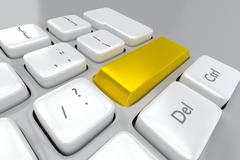 Close up view of a gold key on a computer keyboard Stock Illustration