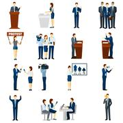 Politics flat icons set - stock illustration