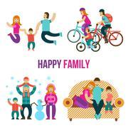 Family Fun Set - stock illustration