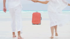 Male female Caucasian seniors on a tropical beach with a suitcase Stock Footage