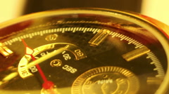 Extremly close-up of men's gold watch Stock Footage
