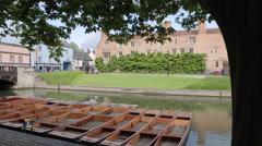 Punting Boats on River Cam, Cambridge, Cambridgeshire, England, UK, Europe Stock Footage