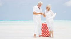 Laughing Caucasian seniors on a tropical beach with a camera and suitcase Stock Footage